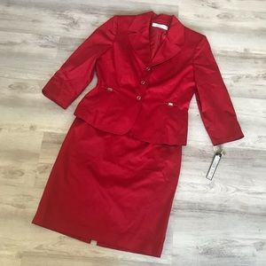 NWT TAHARI RED SKIRT SUIT SIZE 8P